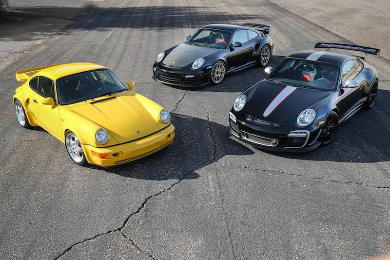 1993 Porsche 964 Turbo S Leichtbau, 2011 Porsche 997 GT2 RS and 2011 Porsche 997 GT3 RS 4.0 (photo: Mathieu Heurtault)