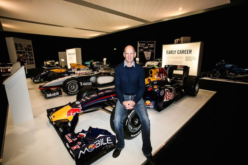 Adrian Newey with the special display of his cars