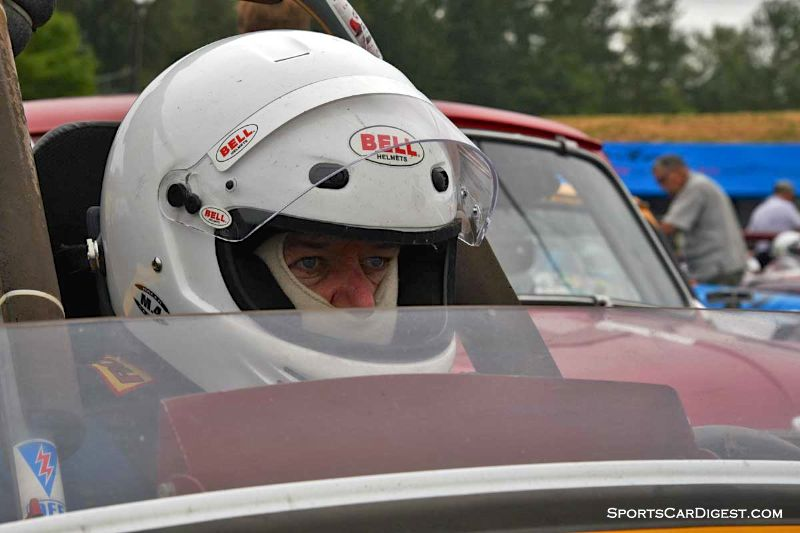 David Sweet inside his1962 Austin Healey Sprite at Portland Historic Races 2015