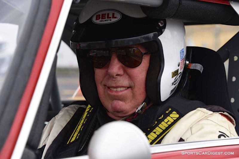 Stephen Chamberlin behind the wheel of the 1965 Alfa Romeo Guilia GT during Portland Historic Races 2015