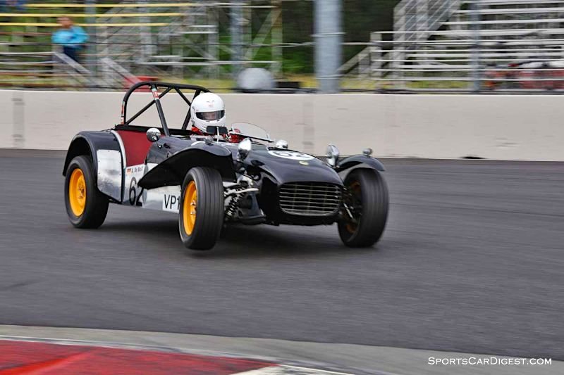 Richard De Wolf tripods the 1962 Lotus 7 at Portland Historic Races 2015