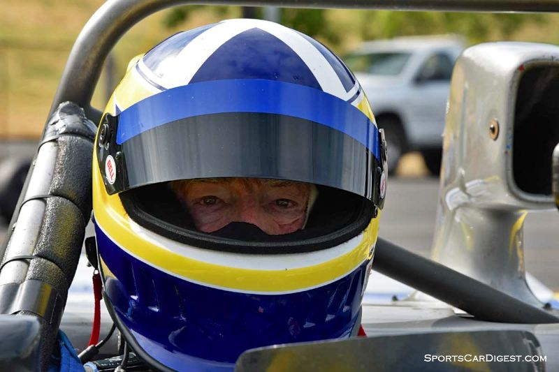 Tony Carruthers inside the 1986 Swift DB2 at Portland Historic Races 2015