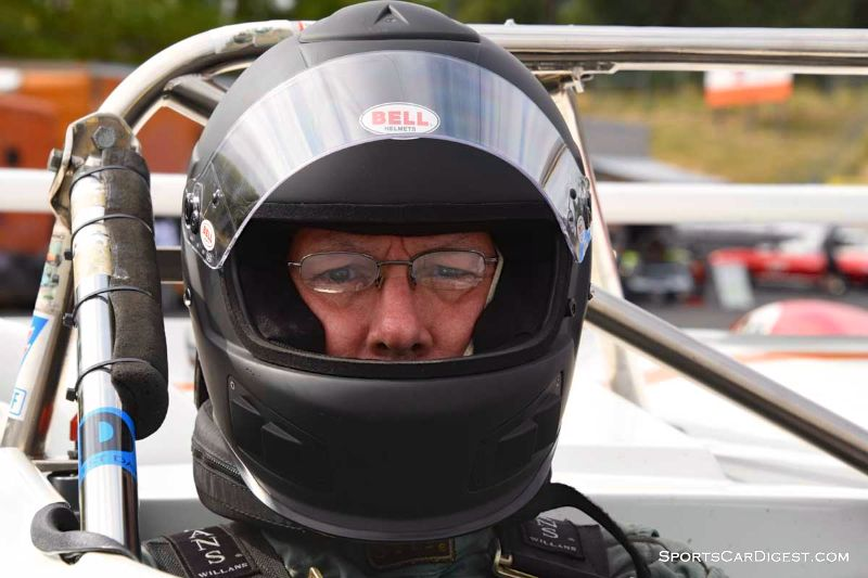 Mark Viskov's behind the wheel of the 1978 Lola T497 at  Portland Historic Races 2015