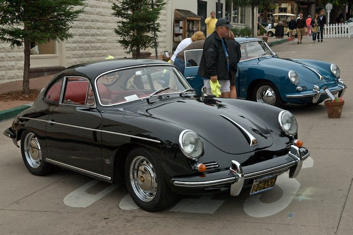 1963 Porsche 356B in black and a 1962 Porsche 356B in blue