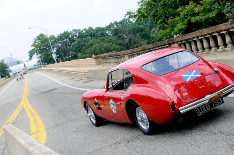 Alan Patterson turns is 1956 Allard Coupe onto Panther Hollow Bridge.
