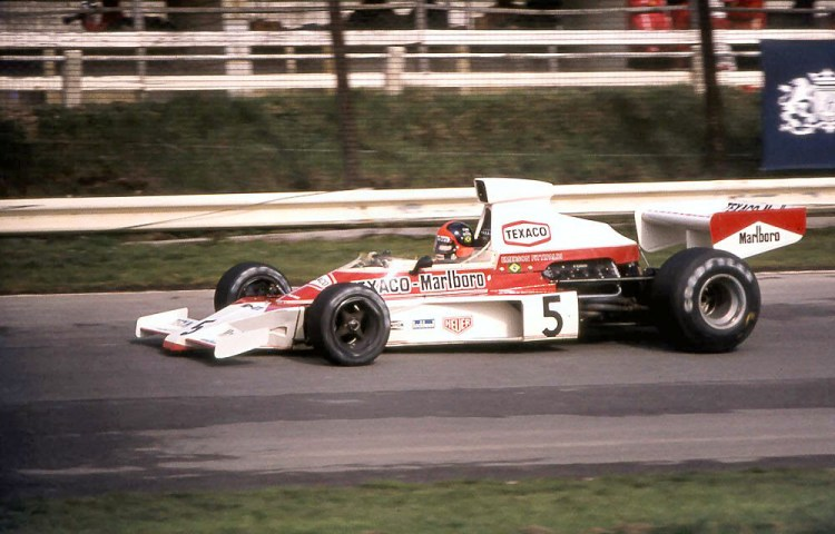 Emerson Fittipaldi in the McLaren M23 at the 1974 British Grand Prix