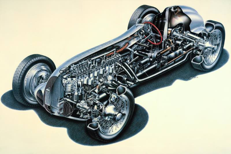 Cutaway drawing of the Mercedes-Benz W 125 racing car, 1937