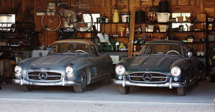 1957 Mercedes-Benz 300 SL Roadster and 1955 Mercedes-Benz 300 SL Gullwing