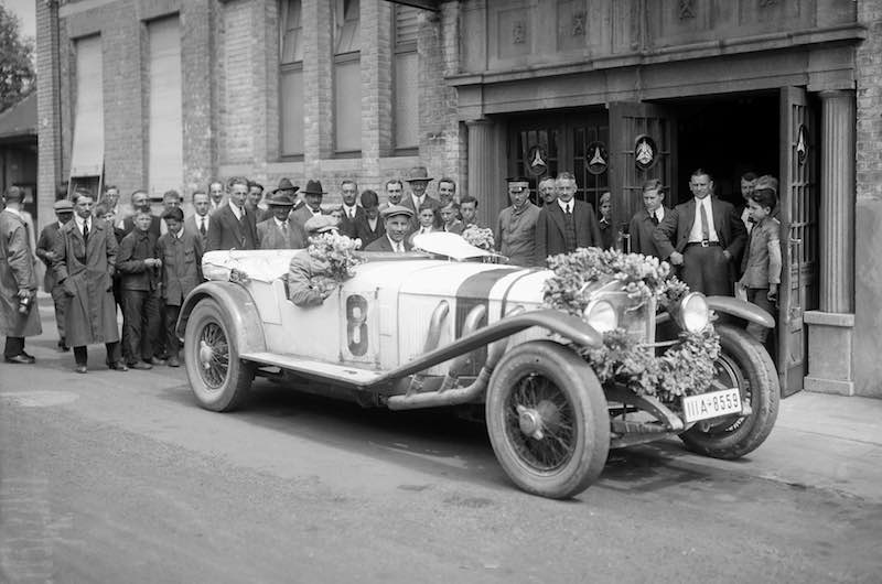 On 17July 1927, Otto Merz won the German Grand Prix for Sports Cars at the Nürburgring for the class of sports cars over 3 litres in a Mercedes-Benz Model S.
