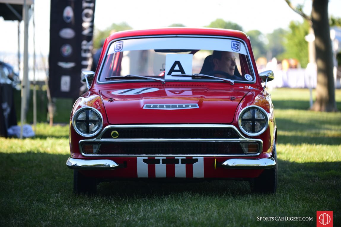David Porter drives his tidy Ford Cortina Lotus onto the show field.