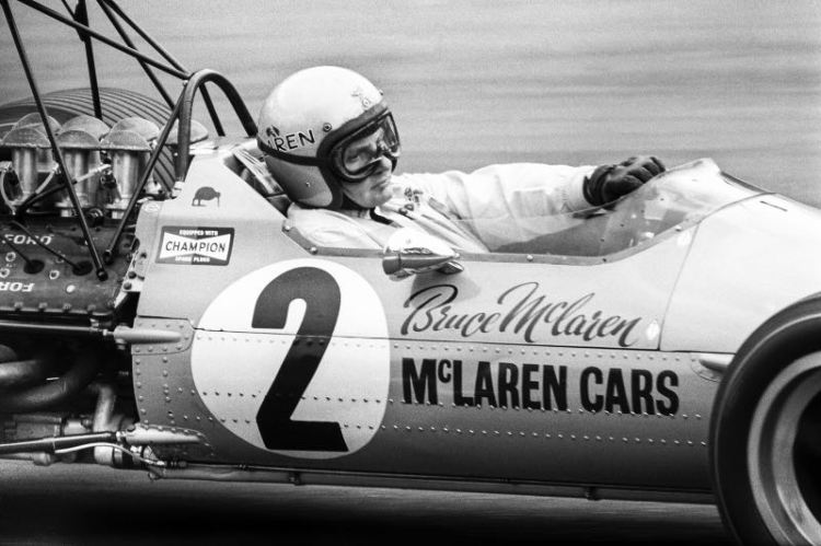 Bruce McLaren at the 1968 British Formula 1 Grand Prix (photo: Mike Haywood Gallery)
