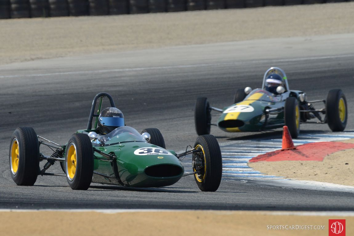 Danny Baker's 1963 Lotus 27 in turn two Saturday afternoon.