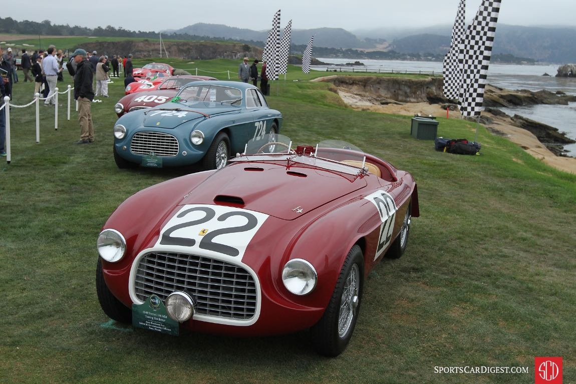 1949 Ferrari 166 MM Touring Barchetta chassis 0008M won the 1949 Mille Miglia with Clemente Biondetti and Ettore Salani at the wheel; after that race Ferrari sold the car to Peter Mitchell-Thomson, the 2nd Baron Selsdon, and in June 1949, his Lordship and co-driver Luigi Chinetti scored the first of Ferrari's nine wins at Le Mans