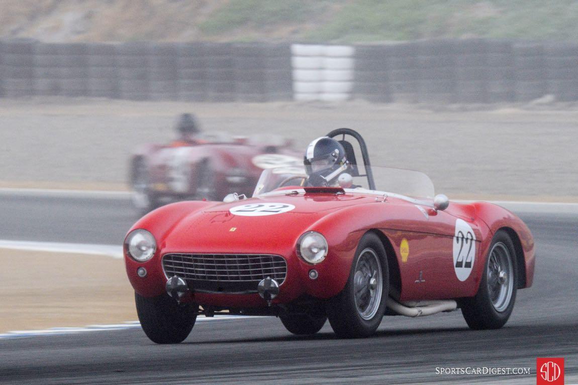 Jeff Abramson's 1954 Ferrari Mondial exits turn three in a Monterey Fog.
