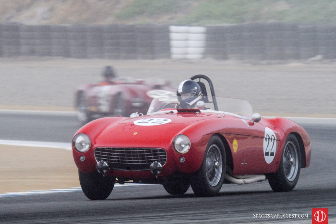 Jeff Abramson's 1954 Ferrari Mondial exits turn three in a Monterey Fog.