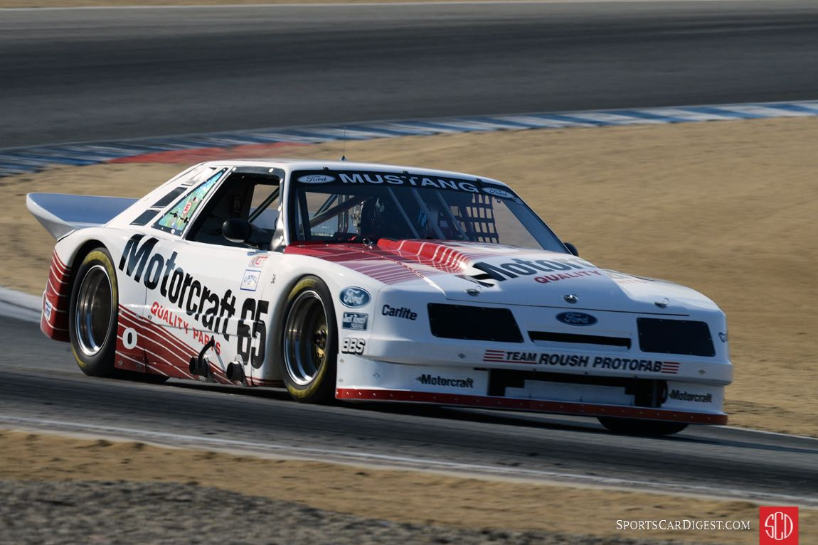 Ross Myers' 1985 Ford Roush Mustang exiting turn five.