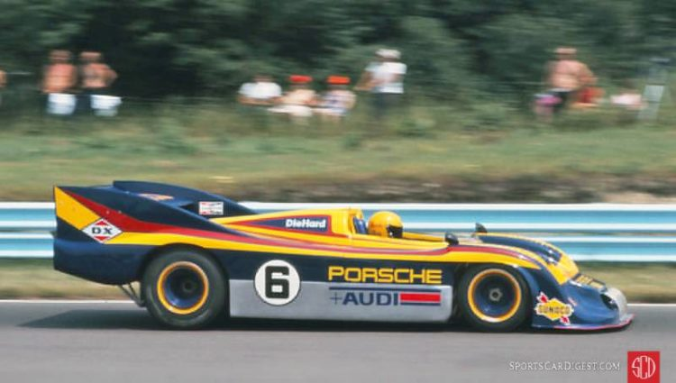 Mark Donohue in the Penske prepared Sunoco Porsche 917-30 TC at the 1973 Watkins Glen Can-Am. Bill Kutz photo.