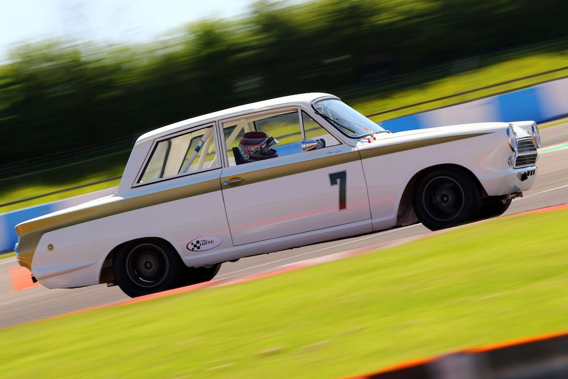Steve Soper in the Lotus Cortina in the U2TC Trophy at DHF 2018 - image Jakob Ebrey Photography