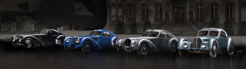 The four Bugatti Type 57 SC Atlantic models