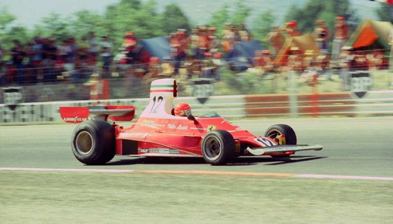1975 Ferrari 312T driven by Niki Lauda captured during his 1975 French Grand Prix win. Photo courtesy of Marcel Massini.