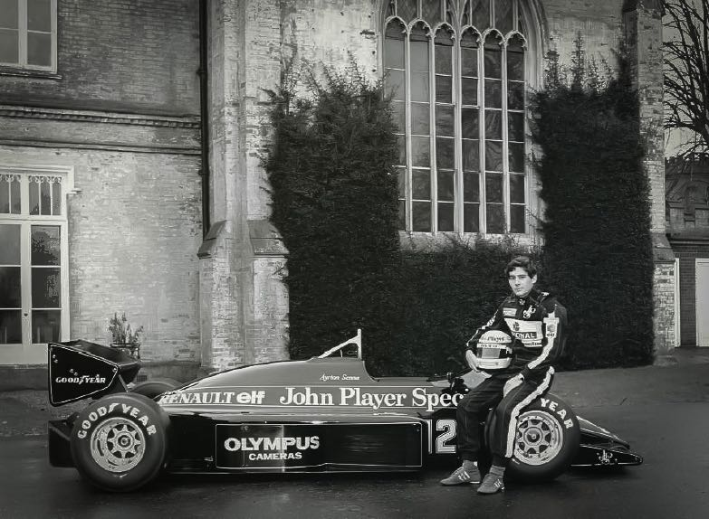 Ayrton Senna with the John Player Special Lotus 97T
