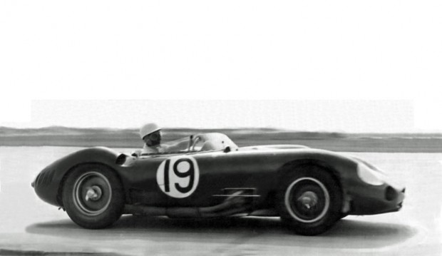 Stirling Moss driving the big Maserati 450S during practice at Sebring.