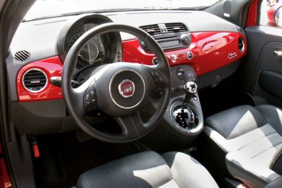 "Interior of a FIAT 500 ""Cinquecento"" passenger cabin, all set to go."