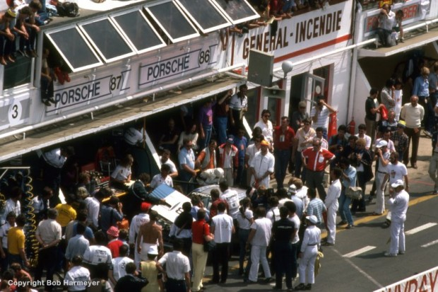 The crowded pit area of the BF Goodrich Porsche 924 team was not unusual in the narrow confines of the old pit lane at Le Mans.