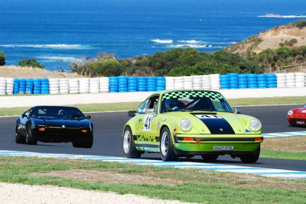 Geoffrey Morgan's Porsche 911 and Rusty French's De Tomaso Pantera, turn 6 exit