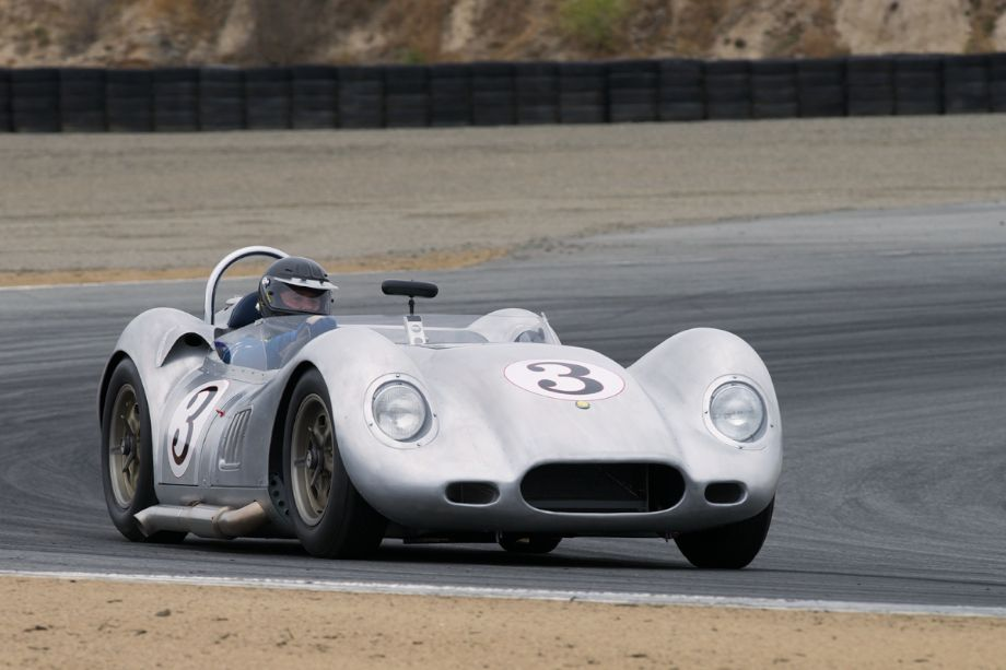 Al Arciero's 1959 Lister Chevrolet Knobbly goes wide in turn two.