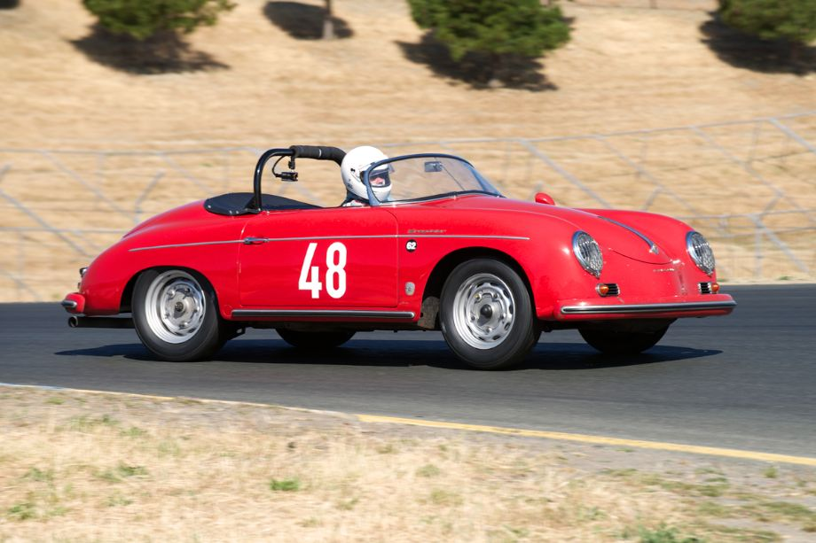 In four Paul Christensen's 1956 Porsche 356A Speedster.