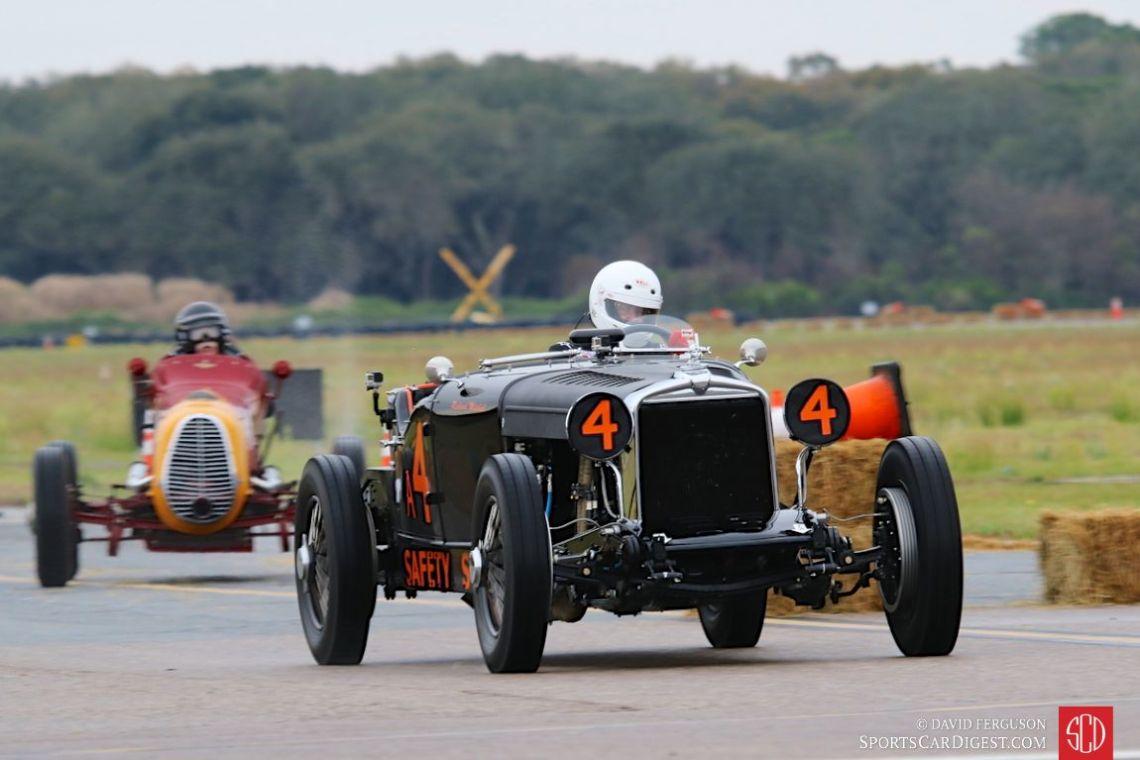 Richard Mitchell behind the wheel of the 1929 Stutz Bearcat