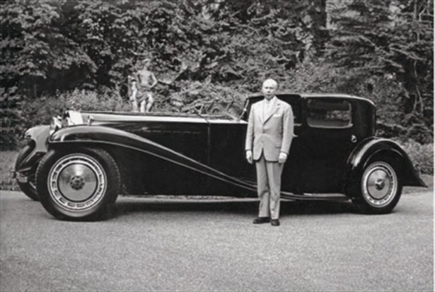 Fritz Schlumpf with Bugatti Type 41 Coupe Napolean Royale