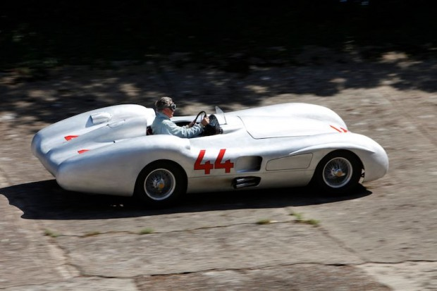 The author drives the Streamliner on the old banking at Brooklands circuit. (Photo: Laurence Baker)