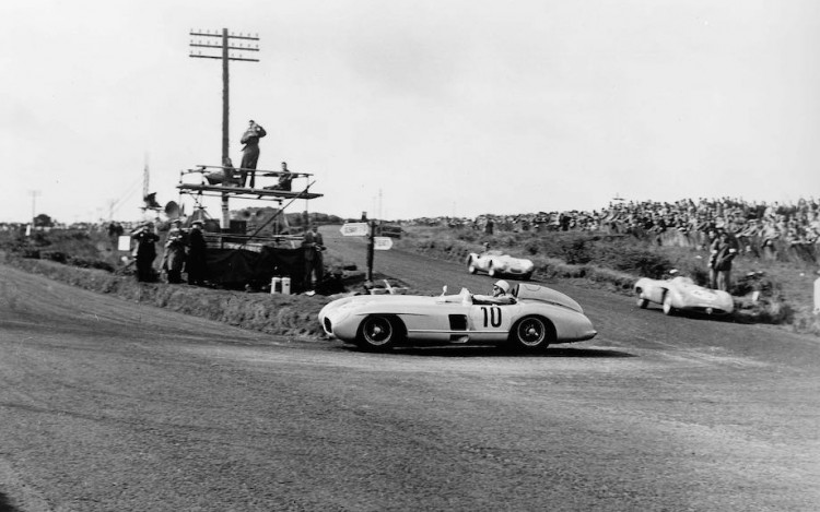 Stirling Moss leading the 1955 Tourist Trophy at Dundrod in the Mercedes-Benz 300 SLR.