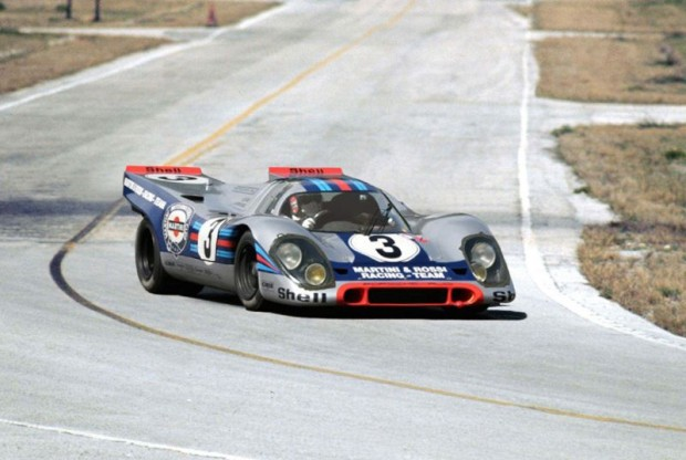 The winning Martini and Rossi Porsche 917K at Sebring in 1971.  At the wheel is Gerard Larrousse.  Lou Galanos photo.