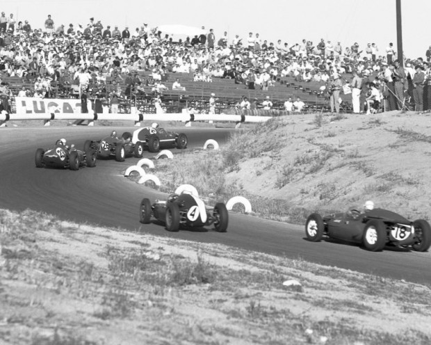 Pete Lovely (#26) follows Chuck Daigh in Lance's Scarab (#25) into Turn 6 at the U.S. Grand Prix held at Riverside on November 20, 1960. (photo credit: Allen Kuhn)