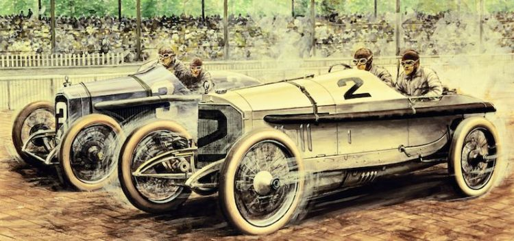 Painting by Carlo Demand depicting 1915 Indianapolis 500 finish