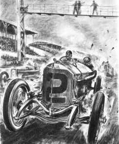 Indianapolis 500, 1915. Ralph de Palma won this race in a 115 hp Mercedes Grand Prix racing car.