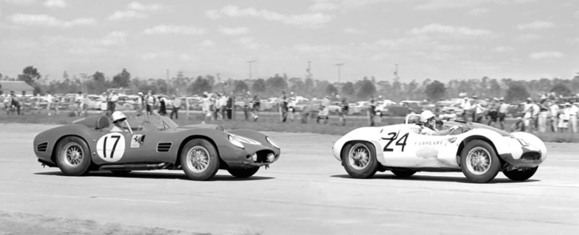 Coming out of turn 12 is the Rodriguez brothers Ferrari about to overtake the Gregory/Casner/Moss Maserati as they head down the front straight. (Photo: FlaGator)