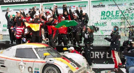 Celebrating the overall 24 at Daytona 2010 victory