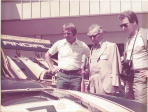 Dr. Ferry Porsche and Dr. Wolfgang Porsche talked to Arnold Wagner during the 1977 San Diego Porsche Club of America Parade where he showed them the Andial Porsche 917 of Randolph Townsend and the 911 BP Production Targa of Howard Meister.