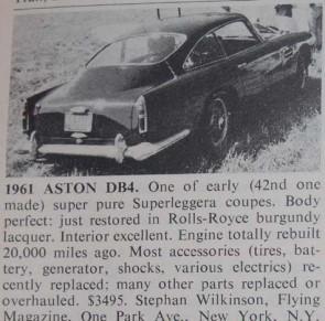 Aston-Martin DB 4 for sale