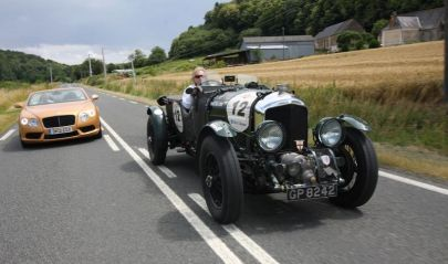 Bentley Continental GTC V8 (background) and 4.5 Litre Blower on the way to 2012 Le Mans Classic