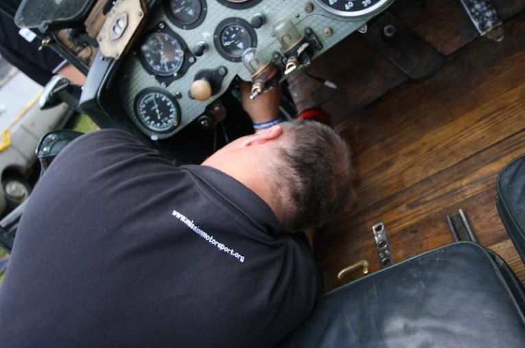 Tony Compson working flat-out on the Bentley