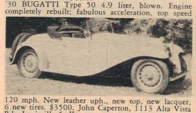 Bugatti Type 50 Classic Car for sale
