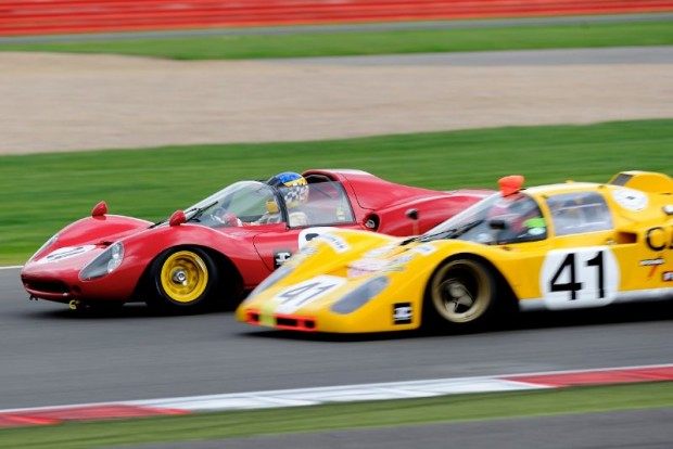 Tight Ferrari action at 2011 Silverstone Classic