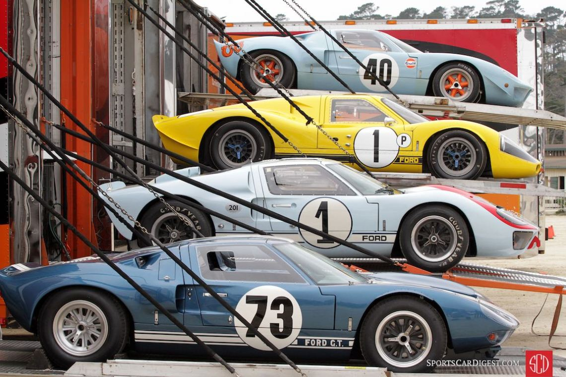 Ford GT40s ready to roll at the Pebble Beach Concours 2016