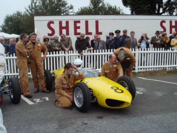 Jim Stokes' team, in period Ferrari overalls, look after the beautiful Sharknose.
