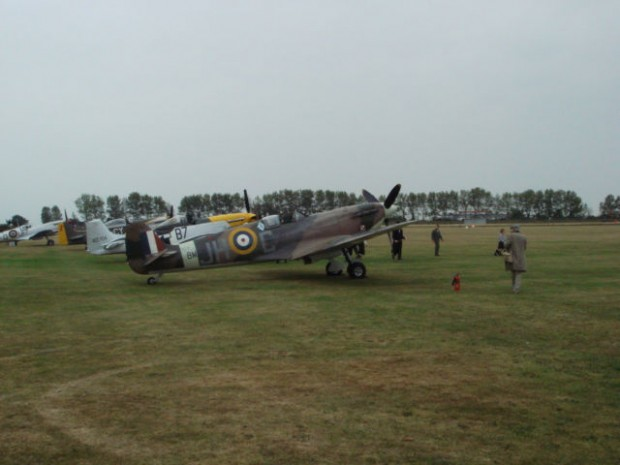 WWI Spitfires and Mustangs flew several times over a four day period as part of the huge Goodwood revival.